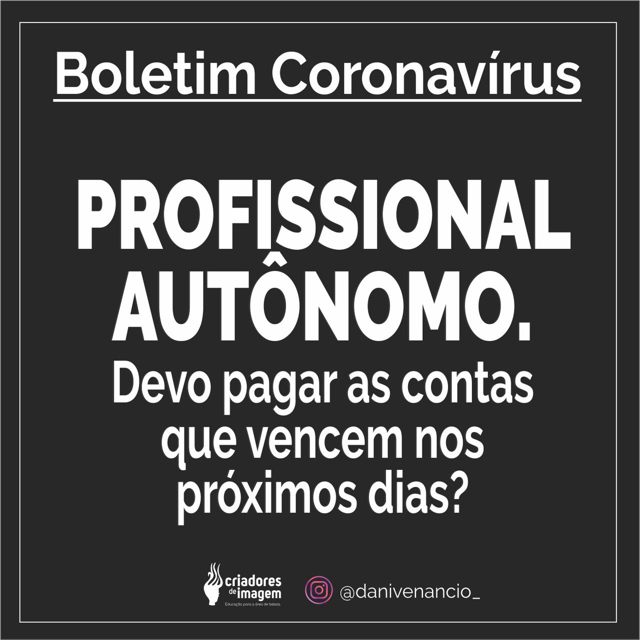 profissional autonomo contas a pagar coronavirus